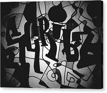 Scribz Nyc Empire Bw Canvas Print