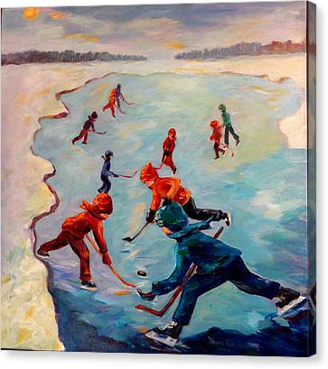 Scrimmages On Our Lake Canvas Print by Naomi Gerrard