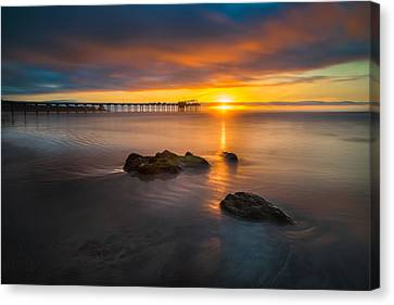 Scripps Pier Sunset 2 Canvas Print by Larry Marshall