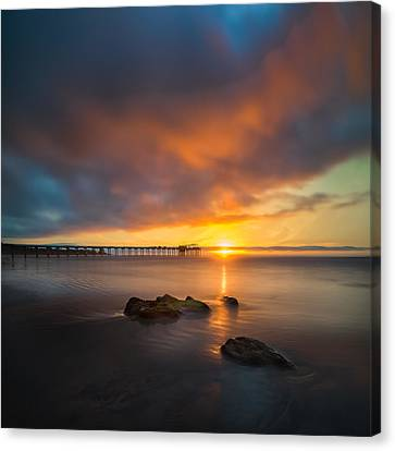 Scripps Pier Sunset 2 - Square Canvas Print by Larry Marshall