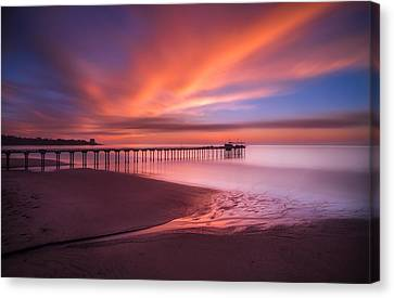 Scripps Pier Sunset Canvas Print by Larry Marshall