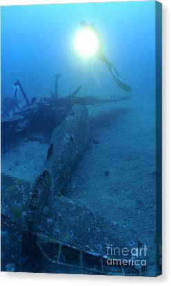 Scuba Divers Exploring Airplane Wreck Canvas Print by Sami Sarkis