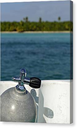 Scuba Diving Cylinder On Boat By Ocean Canvas Print by Sami Sarkis