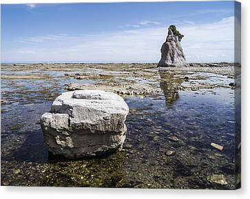 Canvas Print featuring the photograph Sculpted Rock On Naked Isld by Arkady Kunysz