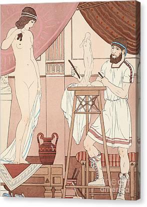 Sculpting A Statue Canvas Print by Joseph Kuhn-Regnier