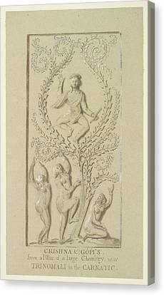 Sculpture Of Krishna Canvas Print by British Library