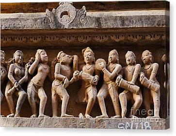 Sculpture Of Musicians On The Lakshmana Temple At Khajuraho In India Canvas Print