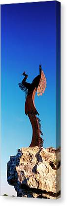 Sculpture Of The Keeper Of The Plains Canvas Print by Panoramic Images