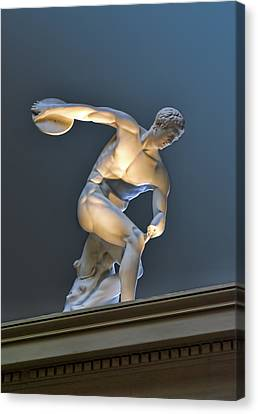 Sculpture Olymic Athlete In Color Canvas Print by Linda Phelps