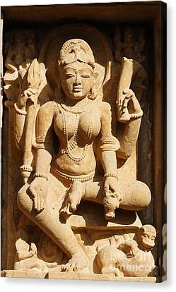 Sculpture On The Lakshmana Temple At Khajuraho In India Canvas Print