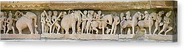 Sculptures Detail Of A Temple Canvas Print by Panoramic Images