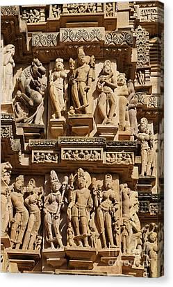 Sculptures On The Lakshmana Temple At Khajuraho In India Canvas Print
