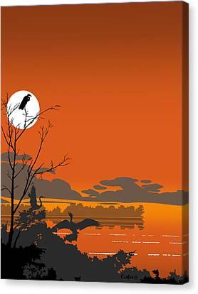 Abstract Tropical Birds Sunset Large Pop Art Nouveau Landscape 4 - Middle Canvas Print