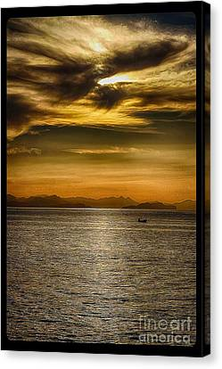 Sea And Sunset In Sicily Canvas Print by Stefano Senise