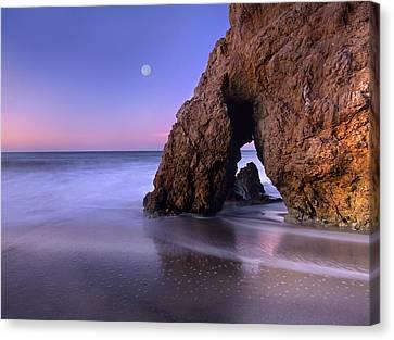 Sea Arch And Full Moon Over El Matador Canvas Print by Tim Fitzharris