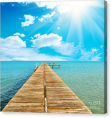 Sea Beautiful And Sky Canvas Print by Boon Mee