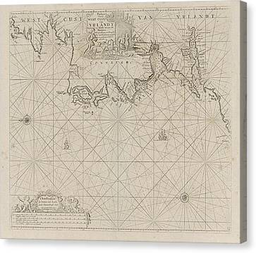 Sea Chart Of A Portion Of The West Coast Of Ireland Canvas Print by Jan Luyken And Anonymous And Johannes Van Keulen (i)
