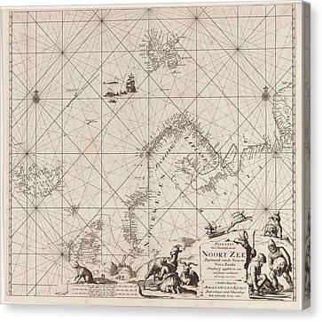 Sea Chart Of Northern Part Of Atlantic And Arctic Ocean Canvas Print