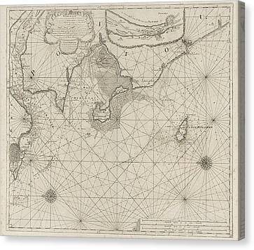 Sea Chart Of Part Of The Coast Of Brittany Canvas Print by Anonymous And Johannes Van Keulen (i)