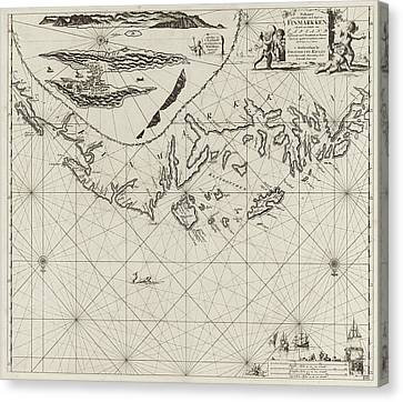 Sea Chart Of Part Of The Coast Of Finnmark Canvas Print by Jan Luyken And Johannes Van Keulen (i)