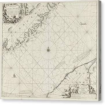 Sea Chart Of Part Of The Coast Of Norway And Jutland Canvas Print by Jan Luyken And Johannes Van Keulen (i)