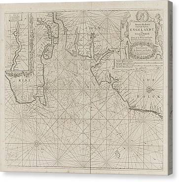 Sea Chart Of Part Of The East Coast Of England At The Mouth Canvas Print by Jan Luyken And Anonymous And Johannes Van Keulen (i)