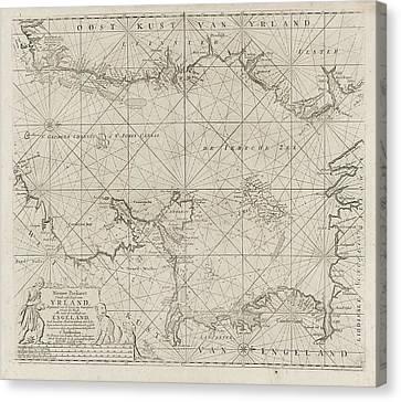 St George Canvas Print - Sea Chart Of Part Of The Irish Sea Between Ireland by Jan Luyken