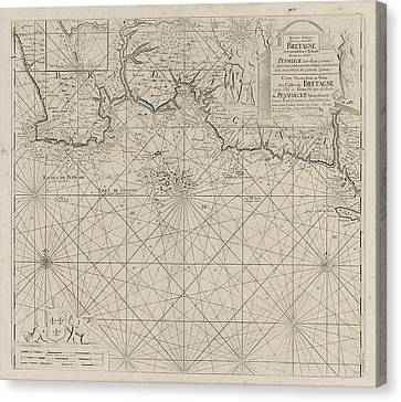 Sea Chart Of Part Of The South Coast Of Brittany Canvas Print by Anonymous And Johannes Van Keulen (i)