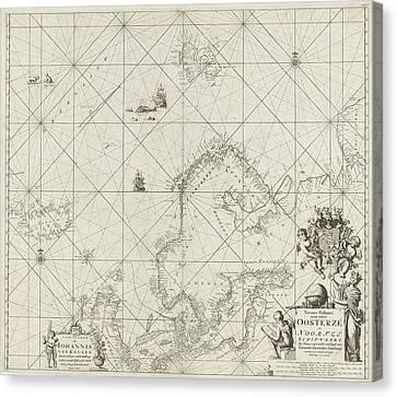 Sea Chart Of The Baltic And North Sea, Jan Luyken Canvas Print by Jan Luyken And Johannes Van Keulen (i)
