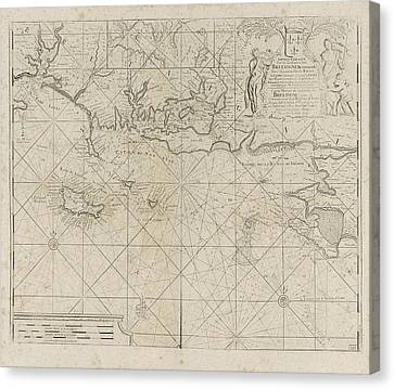 Sea Chart Of The Coast Of France Between The Island Canvas Print