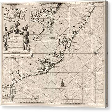 Sea Chart Of The Coast Of French Guiana, Jan Luyken Canvas Print by Jan Luyken And Claes Jansz Voogt And Johannes Van Keulen (i)