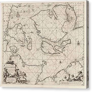 Sea Chart Of The Danish Islands, Part Of The Coast Canvas Print