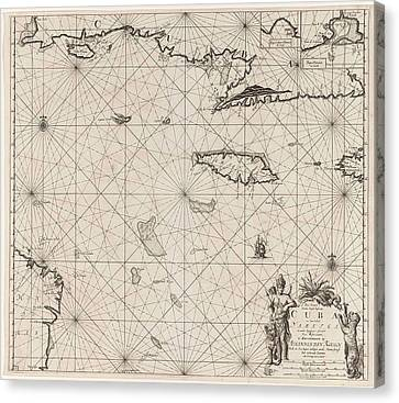Sea Chart Of The South Coast Of Cuba And Jamaica Canvas Print by Jan Luyken And Claes Jansz Voogt And Johannes Van Keulen (i)