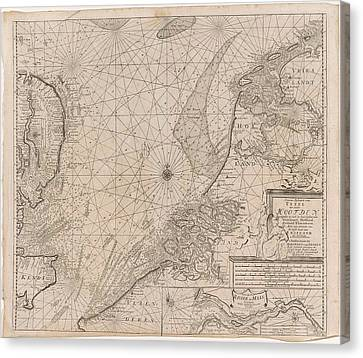 Sea Chart Of The Southern Part Of The North Sea And Part Canvas Print