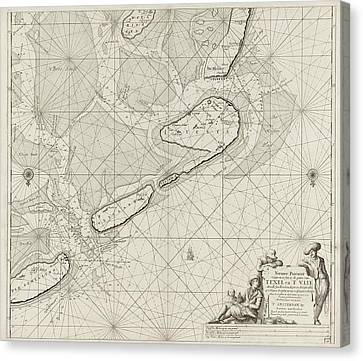 Sea Chart Of The Wadden Sea From Den Helder To Terschelling Canvas Print