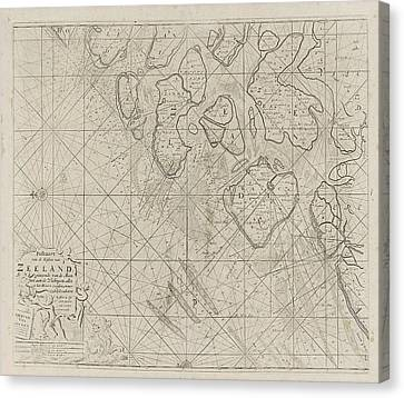 Sea Chart Of The Zeeland Islands And Part Of The North Sea Canvas Print