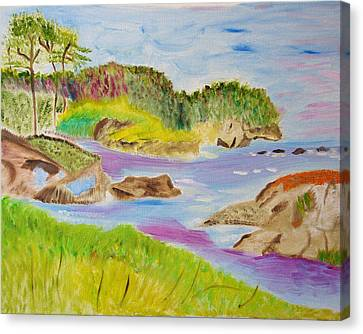 Canvas Print featuring the painting Sea Escape by Meryl Goudey