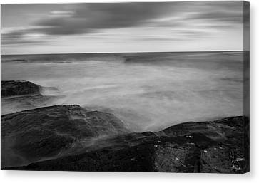 New England Lighthouse Canvas Print - Sea Foam Black And White by Lourry Legarde