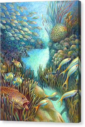 Sea Food Chain - Stalker Canvas Print by Nancy Tilles