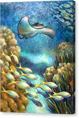 Sea Food Chain - Stingray Canvas Print by Nancy Tilles