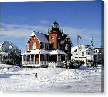 Sea Girt Lighthouse In The Snow Canvas Print by Melinda Saminski