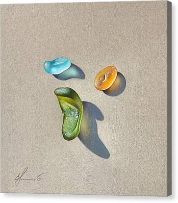 Sea Glass - Trio Canvas Print by Elena Kolotusha