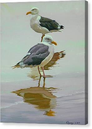 Sea Gulls Canvas Print by Kenneth Young