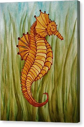 Canvas Print featuring the painting Sea Horse by Katherine Young-Beck