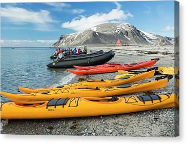 Canoe Canvas Print - Sea Kayaks And Zodiaks by Ashley Cooper