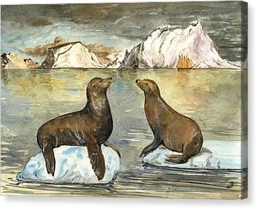 Sea Lions Canvas Print by Juan  Bosco