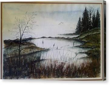 Canvas Print featuring the painting Sea Marsh Sold by Richard Benson