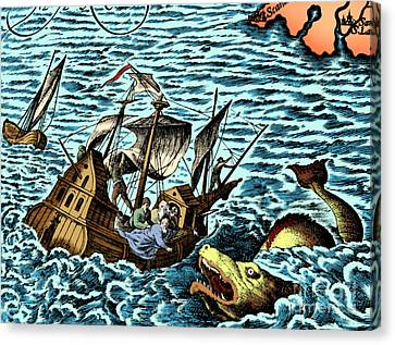 Sea Monster Attacking Ship, 1583 Canvas Print by Science Source
