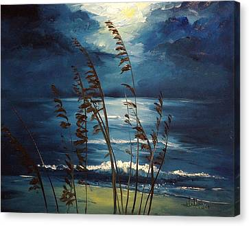 Sea Oats And Moonlight Canvas Print