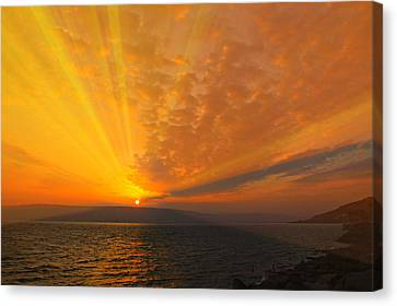 Sea Of Galilee Sunrise Canvas Print by Stephen Stookey